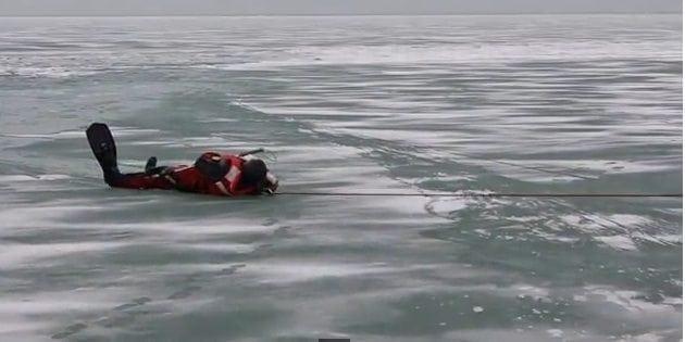 Koira pelastettiin hyisestä vedestä – Katso uskomaton video!