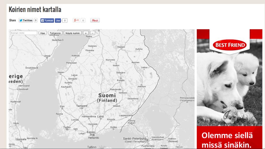 VIHDOINKIN SE ON TÄÄLLÄ! Kaikki Suomen koirien nimet kartalla!