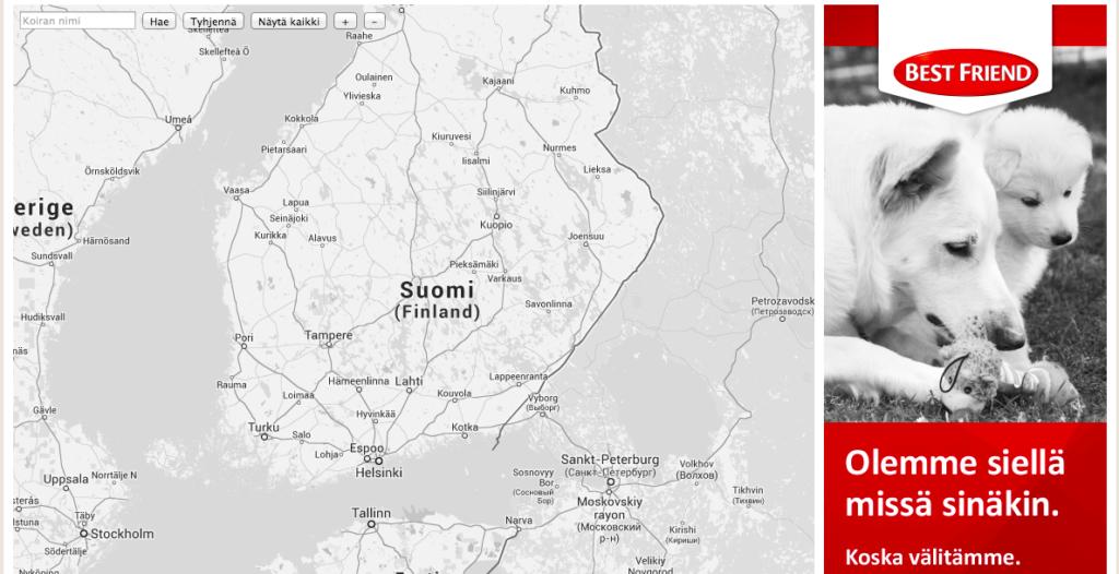 TÄSSÄ SE ON: Kaikki Suomen koirien nimet kartalla