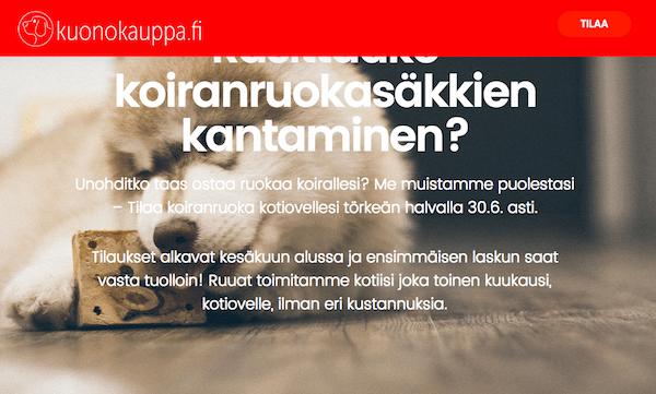 Kuono.fi tähtää Koiranruuan Spotifyksi – ruokatilaukset kuukausimaksulla koiraihmisten kotiin